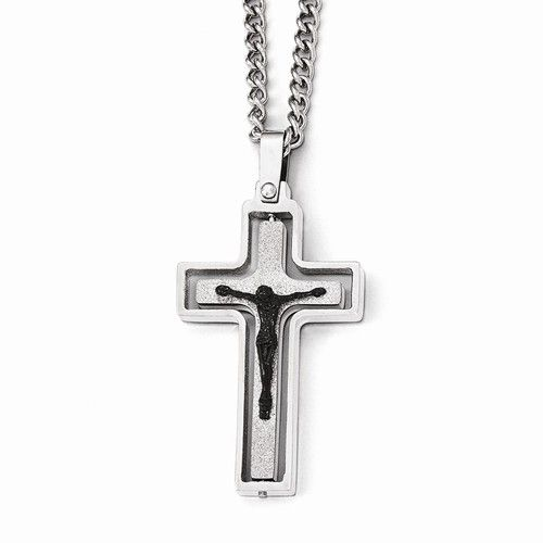 Stainless Steel Polished/laser Cut W/black Ip-plated Jesus Necklace