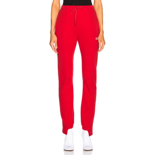 VETEMENTS Push Up Jogging Sweatpants (2.080 BRL) ❤ liked on Polyvore featuring activewear, activewear pants, pants, red sweat pants, jogger sweatpants, red jogger sweatpants, red sweatpants and cotton sweatpants