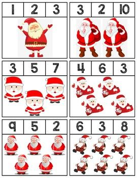 $1   Clip cards featuring Santas to help teach numbers 1-10. Super easy prep, 18 cards total! #mathcenters #math #preschool #preschoolers #preschoolactivities #kindergarten #Homeschooling #teacherspayteachers