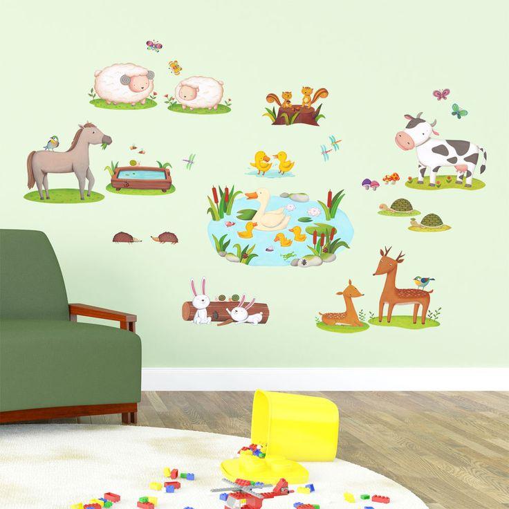 Decowall animals wall stickers removable vinyl childres decals 1403 nursery art decowalldw1403 fairytaleeducationalnurserykindergarten