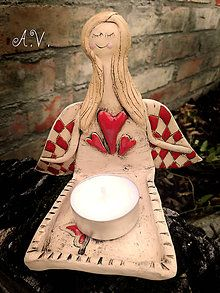 Svietidlá a sviečky - Keramický anjelik na sviečku II. - 8333277_