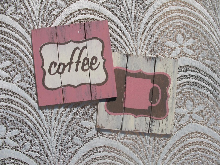 "To order: info@primabella.net... Distressed Wooden Coasters. Set of 4 ""coffee"", ""coffee mug"", ""tea"", ""tea cup"", ""soda"", ""soda glass"", ""milk"", ""milk bottle"", ""bird"" & ""heart""designs (available in English & Afrikaans) R75 Available in various pastel colors. Home Decor Gifts - Home Decor Ideas - Gift Ideas - DIY ideas"