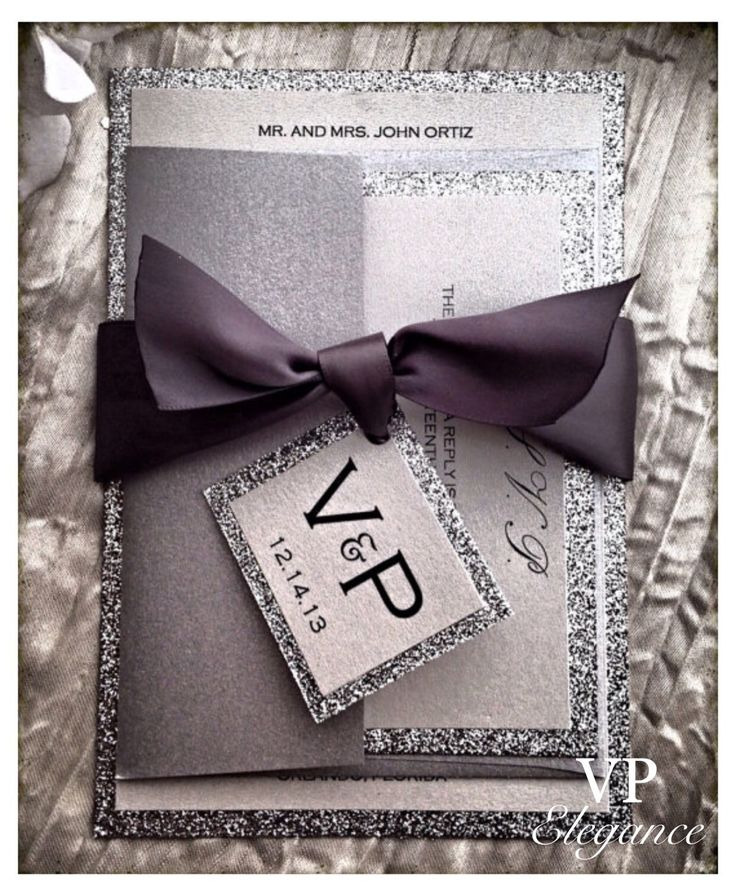 Silver Invitations for wedding and all elegant events, Wedding Invitation silver glitter invitations sparkle invitation script invitation  This beautiful and elegant glitter invitation will definitely impress your guests. The invitations are made as 5x7 inches real non shedding glitter cards with shimmer base for text. How to order:  The price listed is for one sample. The ribbon color on the picture is Pewter. Other colors and quantities available. To receive a quote, please contact us here…