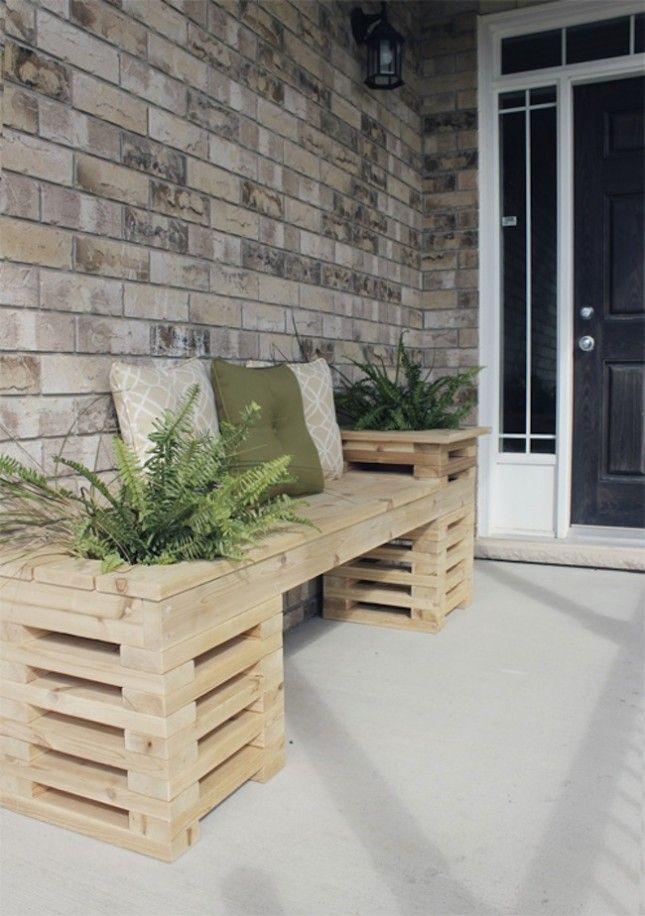 Patio Paradise: A Dozen DIY Outdoor Upgrades via Brit + Co. - http://www.mydailyrandomness.com/2013/08/home-depot-challenge-cedar-bench-with-planters.html
