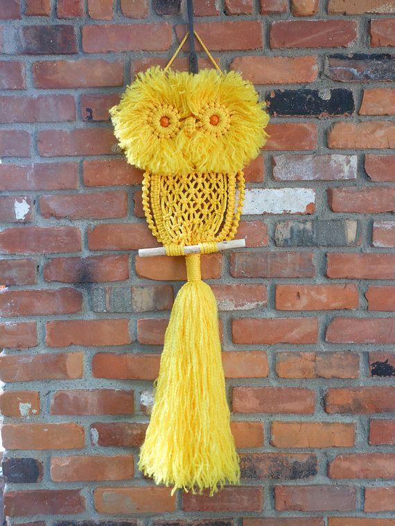 Yellow Macrame Owl, via Etsy.