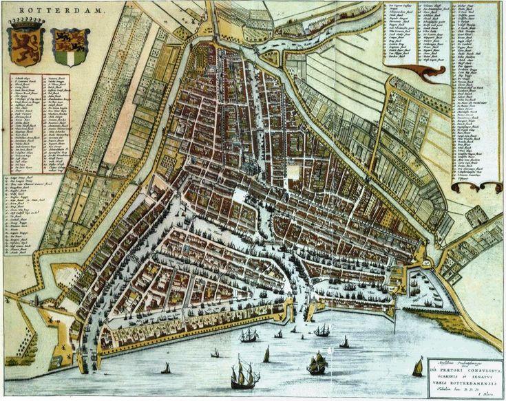 Zeer fraaie kaart uit 1652 Uit een verzameling stads plattegronden van Rotterdam.......