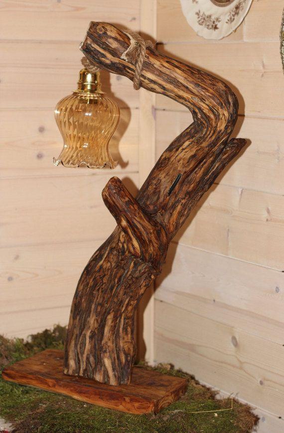 lampada grande legno mare driftwood lamp shabby di GnomoWood