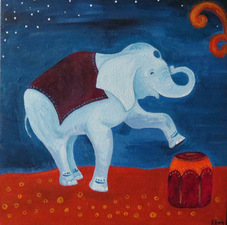 Elefante Noche / Acrílico 30 x 30