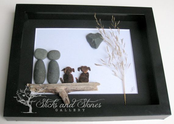 Couple's Christmas Gift-Unique Couple and Dogs Gift-Personalized COUPLE'S Gift-Christmas for Them-Couple and Pets Gift-Original Pebble Art -