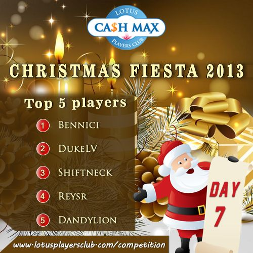 It's a #SATURDAY Day 8 of #12DaysofChristmas Fiesta Competition 2013.  Don't be left out of the Joy. Only 4 Days Left to win $5,000 Cash Money. Register Now With Lotus Ca$h Max Competition More Details on #Competition page! http://www.lotusplayersclub.com/competition Also check out Leading Five players of Day 7 Competition