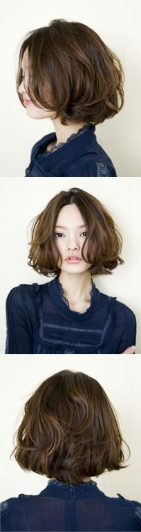 Wavy, brunette long bob #hair #lob