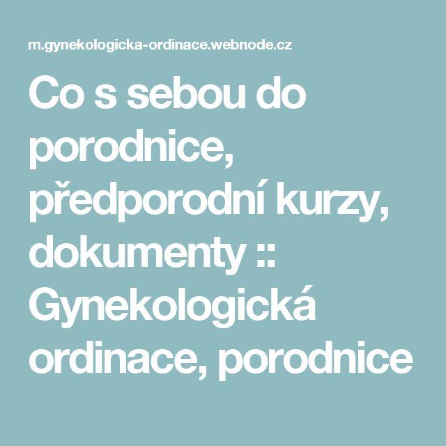Co s sebou do porodnice, předporodní kurzy, dokumenty :: Gynekologická ordinace, porodnice