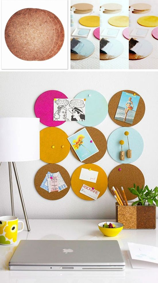 Love this idea for a kids room or office...these trivets are like $3 for 3  This is such a modern looking decoration, I would love to do this in different matching patterns on each circle. Not only cute, but practical!