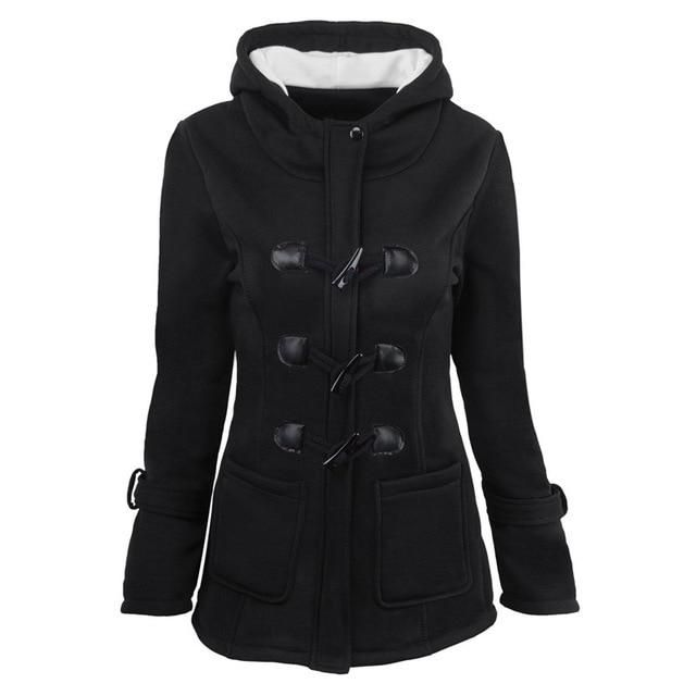 Kueenwang 2019 women coats double breasted with front pockets winter jacket women hooded plus size 6 jaqueta feminina black XXL