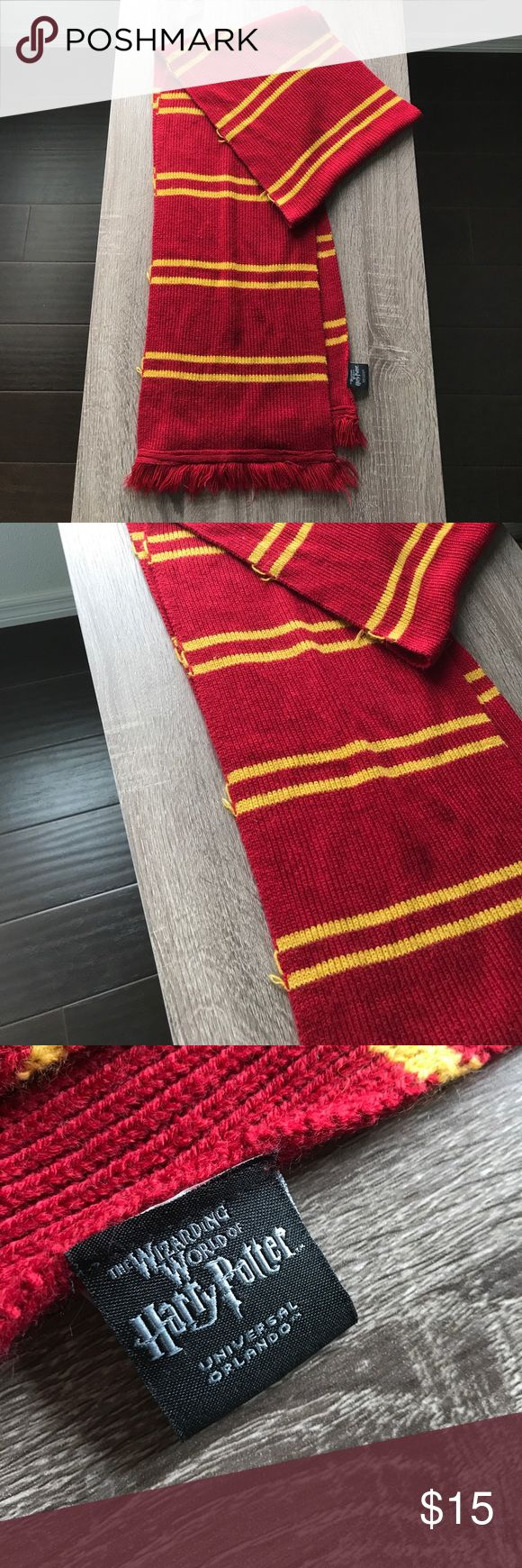 Harry Potter   Gryffindor scarf   Universal studio Gryffindor scarf from Wizarding World of Harry Potter at Universal Studios. Some wear and tear (photos attached) Accessories Scarves & Wraps