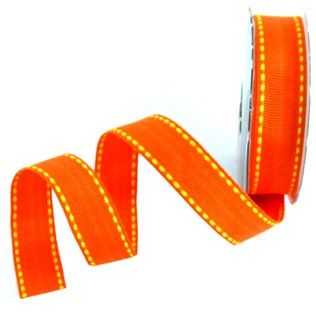 """the Ribbon Boutique 5/8"""" Orange with Yellow Stitching Grosgrain Ribbon 