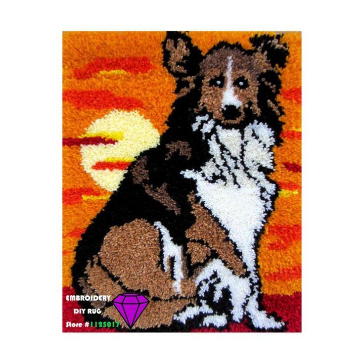Diy коврик рукоделие комплект незавершенной ручного вязания крючком ковер пряжи чехлы вышивка комплект ковры для гостиной DIY ковер собака 50 * 50 см