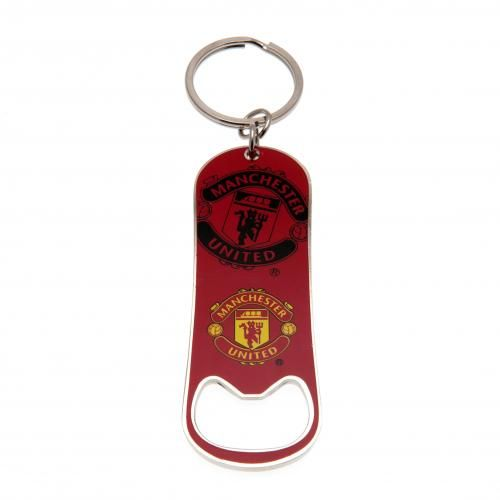 Manchester United bottle opener on a keyring - made from metal, in club colours and featuring the club crest. FREE DELIVERY on all of our gifts