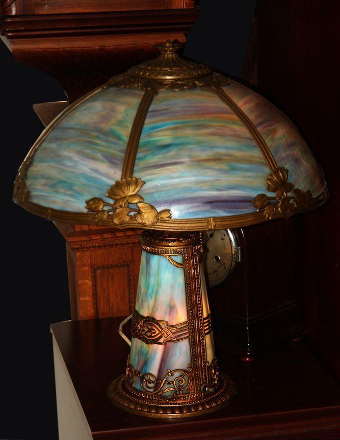 Rare lighted base blue slag glass vintage elite lamp