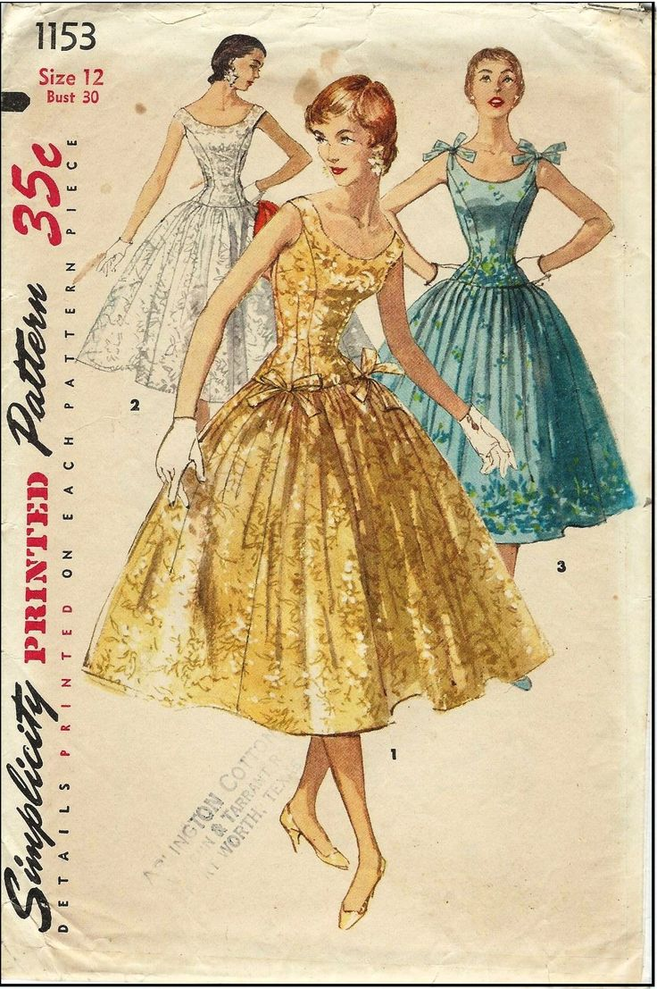 Simplicity #1153 - Sewing Pattern - One-Piece Dress with Drop Waist and Optional Ties - 1955