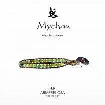 Mychau - Bracciale Vietnam originale realizzato con Crisoprasio naturale su base bracciale col. Testa di Moro
