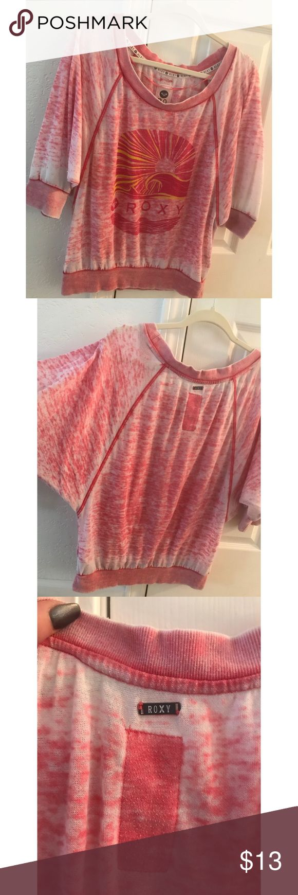 Roxy Top ☀️ Pink distressed look for a casual Roxy sun tee that can be hung off the shoulder. Perfect with jean shorts and your favorite sandals 😊 Roxy Tops Tees - Short Sleeve