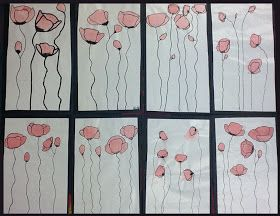 artisan des arts: Droopy poppies for Remembrance Day - grade 4/5