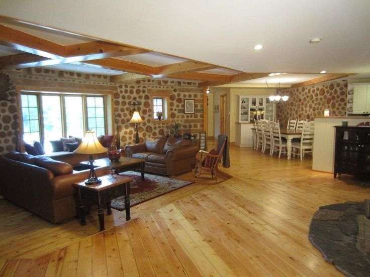 Cordwood Lodge Open Concept Living Room And Dining Room