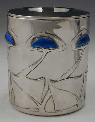 Liberty & Co. Archibald Knox Arts & Crafts Jam Pot - Polished Pewter & Enamel