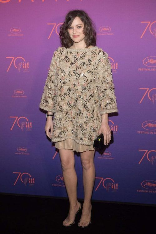Marion Cotillard at Cannes Film Festival 2017 : I Like the embroidered Chanel dress but it seems to be engulfing her and that hairstyle isn't helping much. Love the shoes, though.