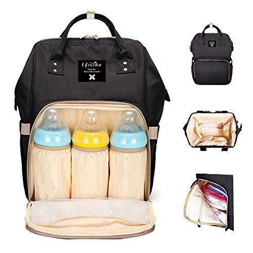 Diaper Bag Multi-Function Waterproof Travel Backpack Nappy Bags for Baby Care, Large Capacity, Stylish and Durable, Mom Bag by Lifecolor (Black) - Lifecolor,consistently creates stylish diaper bags, focusing on perfecting the quality of nappy bag and services.MATERIALHigh quality durable water resistant environmental fabric STYLISH & UNISEXLifecolor diaper backpack doesn't look like a typical nappy changing bag, would be use as a diaper bag...