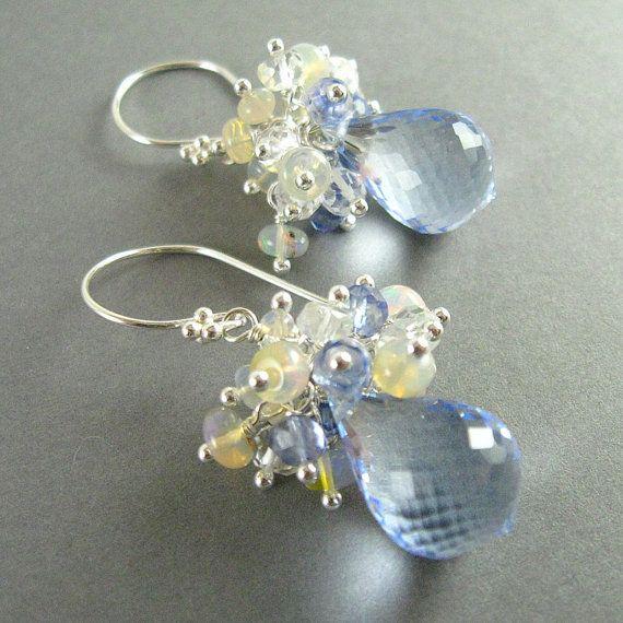Sky Blue Topaz Earrings, Blue Topaz, Opal, and Quartz Cluster Earrings