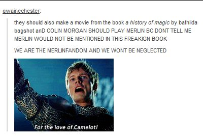 COLIN SHOULD HAVE PLAYED MERLIN IN OUAT, TOO. IN FACT, THE WHOLE MERLIN CAST SHOULD HAVE PLAYED THE CAMELOT CHARACTERS. I'M SO ANGRY