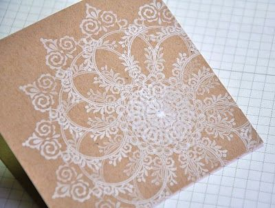 love the lace look. all from one stamp.  Would go great for wedding invites.