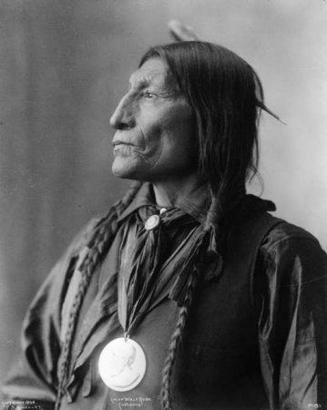 ::::::::::: Antique Photograph :::::::::::   Wolf Robe (c.1838-1910) was a Southern Cheyenne chief and a holder of the Benjamin Harrison Peace Medal. During the late 1870s he was forced to leave the open plains and relocate his tribe on to the Cheyenne and Arapaho Indian Reservation in Indian Territory. He was awarded the Benjamin Harrison Peace Medal in 1890 for his assistance in the Cherokee Commission.