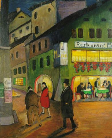 """Night (1924) by Marianne von Werefkin (1860 O.S.-1938), Russian/Swiss - Was an Expressionist artist and worked for a time in Germany, helping to found a new group in 1909, the Neue Künstlervereinigung München (New Association of Artists in Munich, NKVM). Werefkin immigrated to Switzerland where she painted many colorful, landscapes in an expressionist style. In 1924 she founded the artist group """"Großer Bär"""" (i.e., Big Bear, Ursa Major). (wiki)  - (mariannevonwerefkin.de)"""