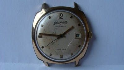 gub glashutte spezimatic automatic with date gold plated and steel mens watch running fine great bargain for a gub by Bohemianwatchsource on Etsy