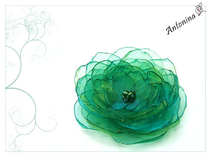 Smaragdgrüne Haarblüte, Wunschfarbe Haarblume grün von+Antonina:+really+nice+auf+DaWanda.com