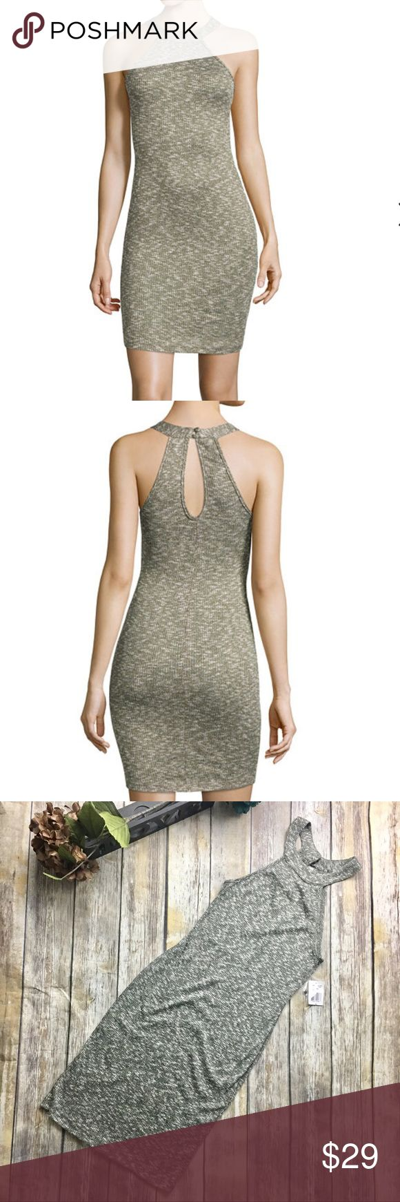 Be Smart Light Olive Green Dress Olive colored light stretchy material Halter style dress. Size large. New with tags. Rayon Polyester Spandex material. 42 inches long. 12 inch bust line laying flat without stretching material. Material is thin may need slip to be worn underneath. Size medium Be Smart Dresses Mini
