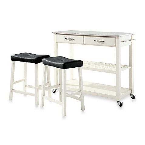 Crosley Stainless Steel Top Kitchen Cart Island With Matching Upholstered Stools Provides The