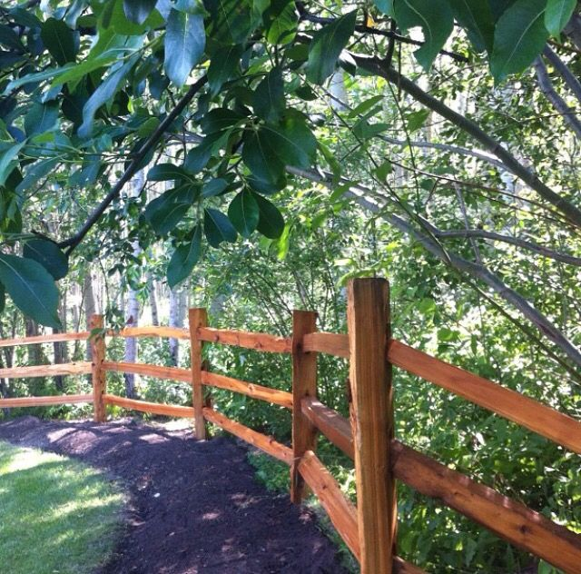Split rail cedar fence. Super easy to build and it provides an excellent source of rustic aesthetic.