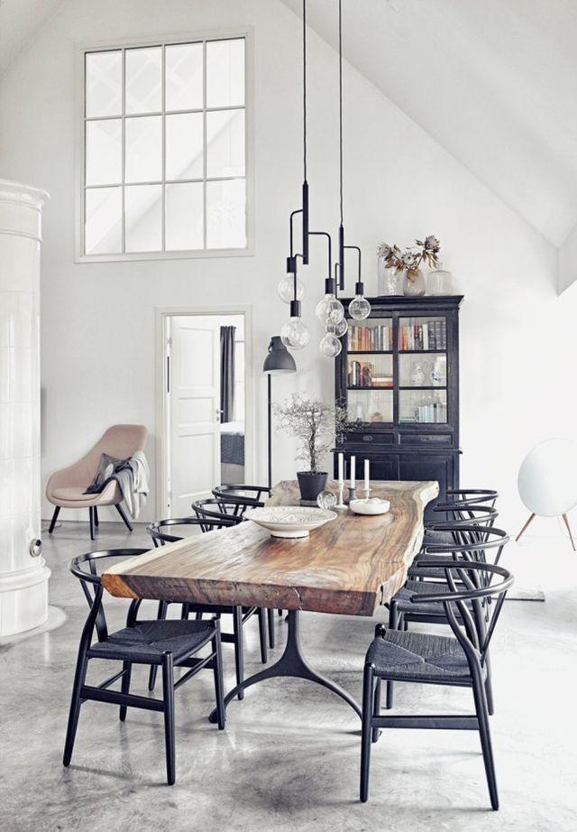 Gorgeous Live Edge Dining Table With Black Wishbone Chairs And Industrial Chandelier