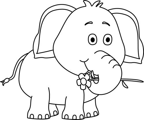 clip art black and white | Black and White Elephant with a ...