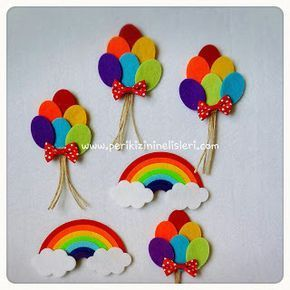 peri kızının el işleri: Gökkuşağı magnet ve balon magnet: