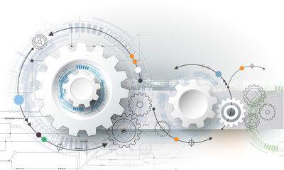 Vector illustration gear wheel, hexagons and circuit board, Hi-tech digital…