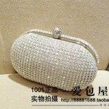 2014 New Full Diamond Women Clutch. Shiny Rhinestones Silver Oval-type Party Evening Bag. Long Chain Shoulder Messenger Handbag