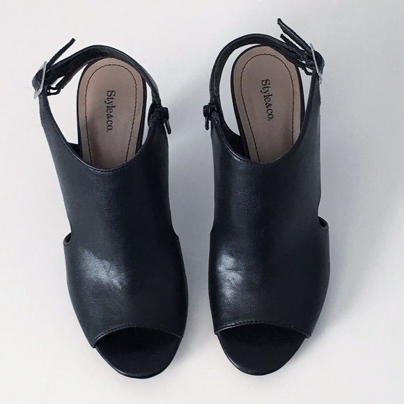 """Style & Co Sandals Synthetic sandals, manmade sole, sling back buckle, open toe, M width, approx. 3"""" heel. Perfect for work or play! Condition: Excellent; Only worn twice. Most of the wear is on the bottom of shoe. Final sale. Sold as is. No Trades. Style & Co Shoes Sandals"""