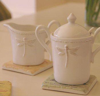 Dragonfly Sugar Jar & Creamer - The Hamptons House