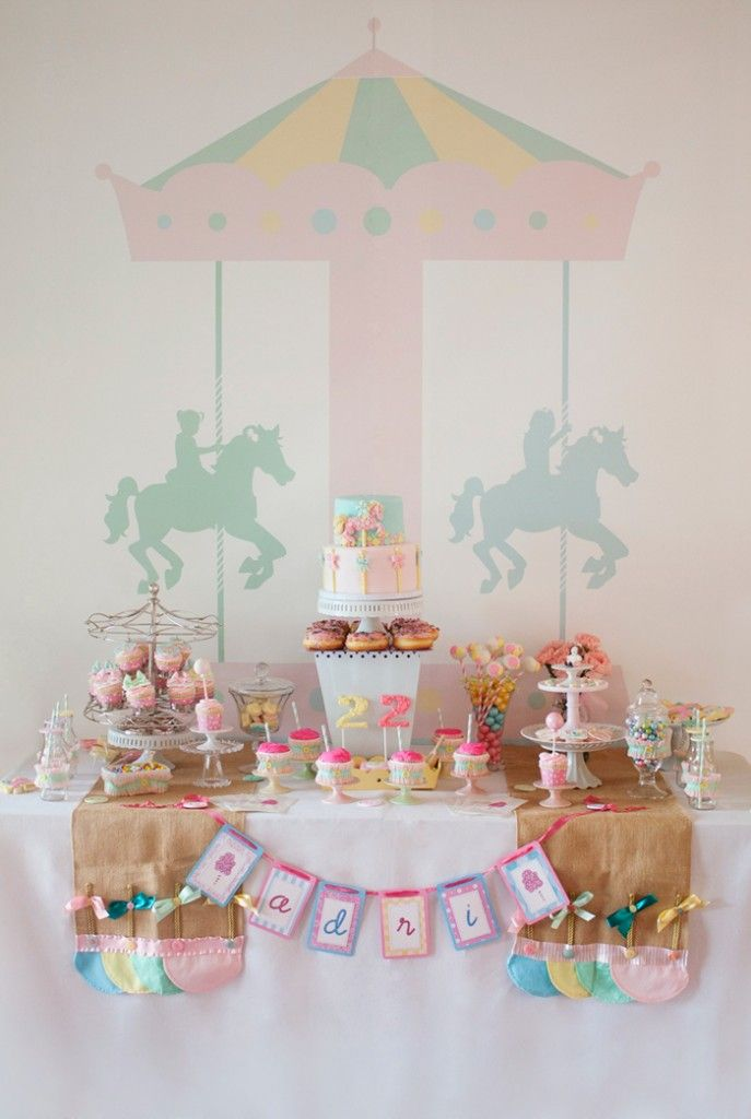Carousel Themed Party - beautiful dessert table: Dessert Tables, Pastel Carousel, 1St Birthday, Carousels, Party Ideas, Birthday Party, Baby Shower, Birthday Ideas, Carousel Party