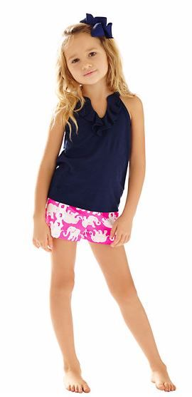 Lilly Pulitzer Girls Little Liza Short shown in Pop Pink Tusk In Sun Middle.